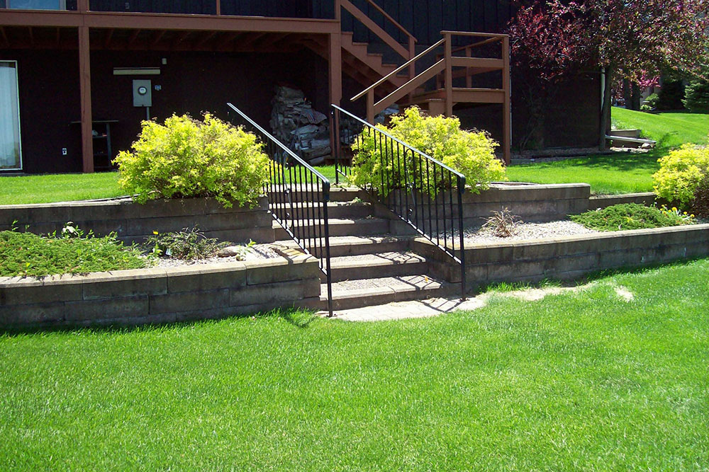 landscaping project with retaining wall